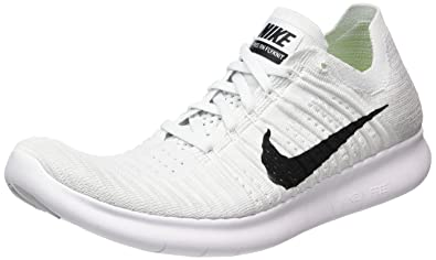 Nike Free RN Flyknit Mens Running Shoe 831069 101 White/Pure Platinum/Black  (