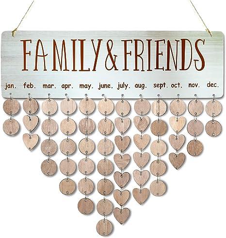Camisin Family /& Friends Calendrier /à suspendre en bois pour anniversaire