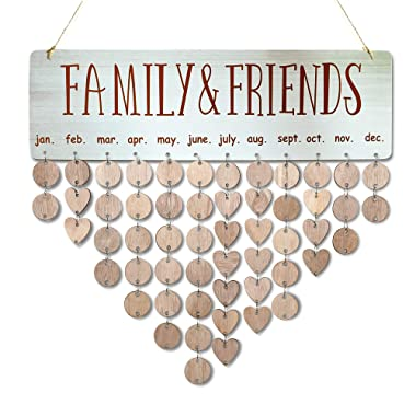 YUQI [with Adhesive Hooks] Family Friends Calendar Wood Wall Hanging Plaque Family Friends Birthday Gifts DIY Reminder Wall Calendar Board