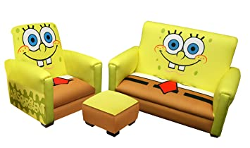 nickelodeon deluxe toddler sofa chair and ottoman set sponge bob - Toddler Sofa