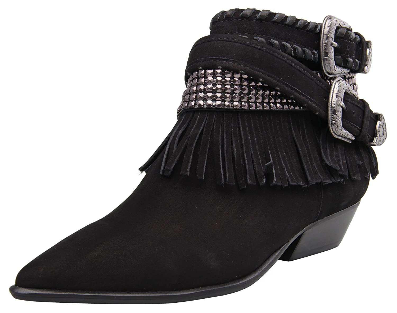 Carrano Myra Nubuck Leather Fringe Buckled Bootie B074ZRBMX9 8 B(M) US|Black