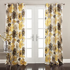 """Lush Decor Room Darkening Window Curtain Panel Pair Leah Floral Insulated Grommet, 108"""" L, Yellow and Gray"""