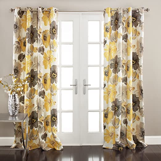 Lush Decor Leah Floral Darkening Yellow and Gray Window Curtain Panel Set  for Living, Dining Room, Bedroom (Pair), 84\