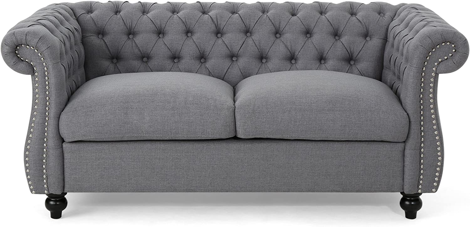 Christopher Knight Home Kyle Traditional Chesterfield Loveseat Sofa, Gray and Dark Brown, 61.75 x 33.75 x 27.75