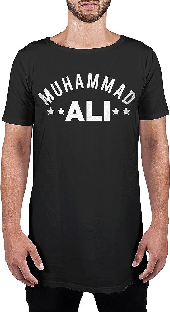 Camiseta Hombre Extra Larga Muhammad Ali - Mens Organic Longer Length T, S, Negro: Amazon.es: Ropa y accesorios