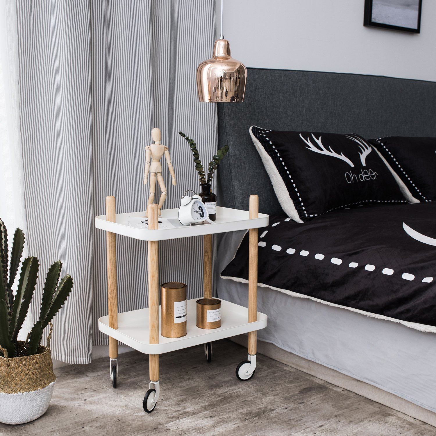 Sofa Side Table with wheels, Metal Tray End Table Living Room Bedroom, 2-Tier Nightstand Utility Rolling Cart, White by Clothink (Image #3)