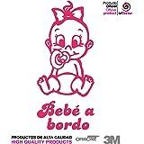 Artstickers® Adhesivo pegatina Bebe a Bordo nena niña - BABYFUN COLLECTIÓN 10 COLORES A ELEGIR + REGALO SORPRESA (Rosa)