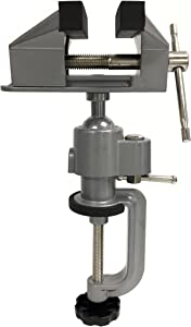 "MaxWorks 80743 Universal 3"" Table Bench Clamp Vise with Swivel Head for Hobby, Electronics, Metal Working, Craft, Jewelry Inspection & More"