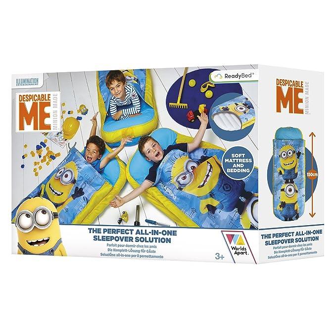 Worlds Apart ReadyBed 406DPM - Cama Juvenil Hinchable y Saco de Dormir en uno con diseño Despicable Me, Color Azul: Amazon.es: Hogar