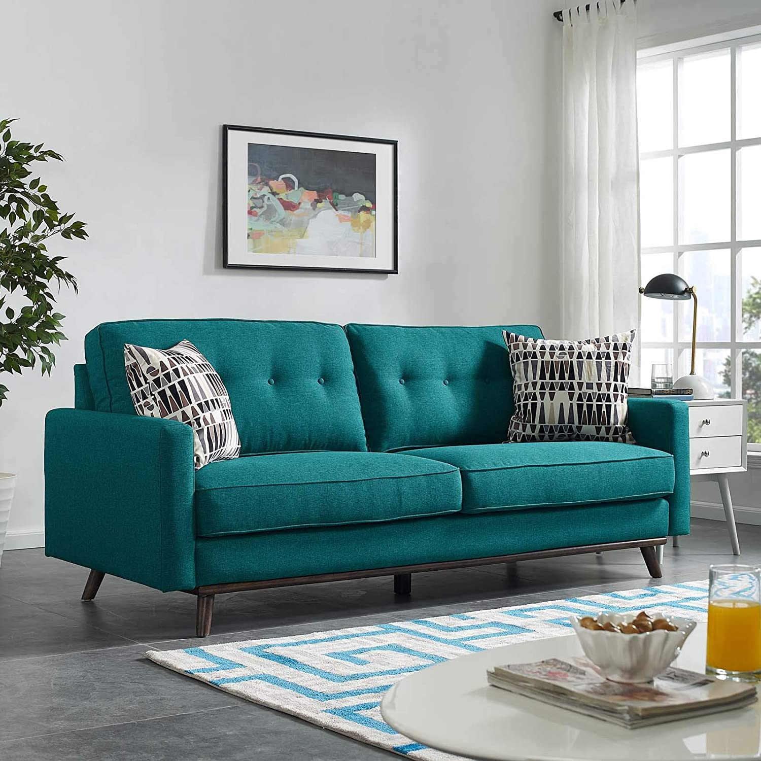 Modway Prompt Mid-Century Modern Fabric Upholstered Tufted Sofa In Teal