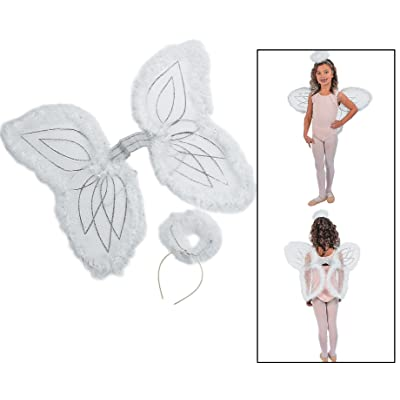 Fun Express White Marabou Angel Wings & Halo Headband Nativity Christmas Play: Toys & Games