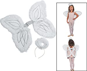 Fun Express White Marabou Angel Wings & Halo Headband Nativity Christmas Play