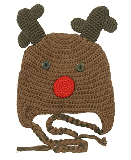 Amazon Bepe Baby Boys Crochet Reindeer Beanie Hat Brown Clothing