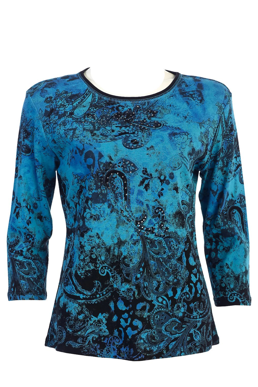 Jess & Jane Cotton Tee Shirt - ''Blue Ocean'' in Black (1X)