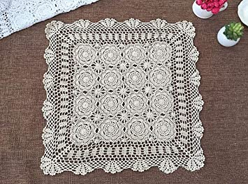 vanyear hecho a mano de ganchillo de algodón de encaje mesa sofá manteles cuadrados para decoración de muebles: Amazon.es: Hogar