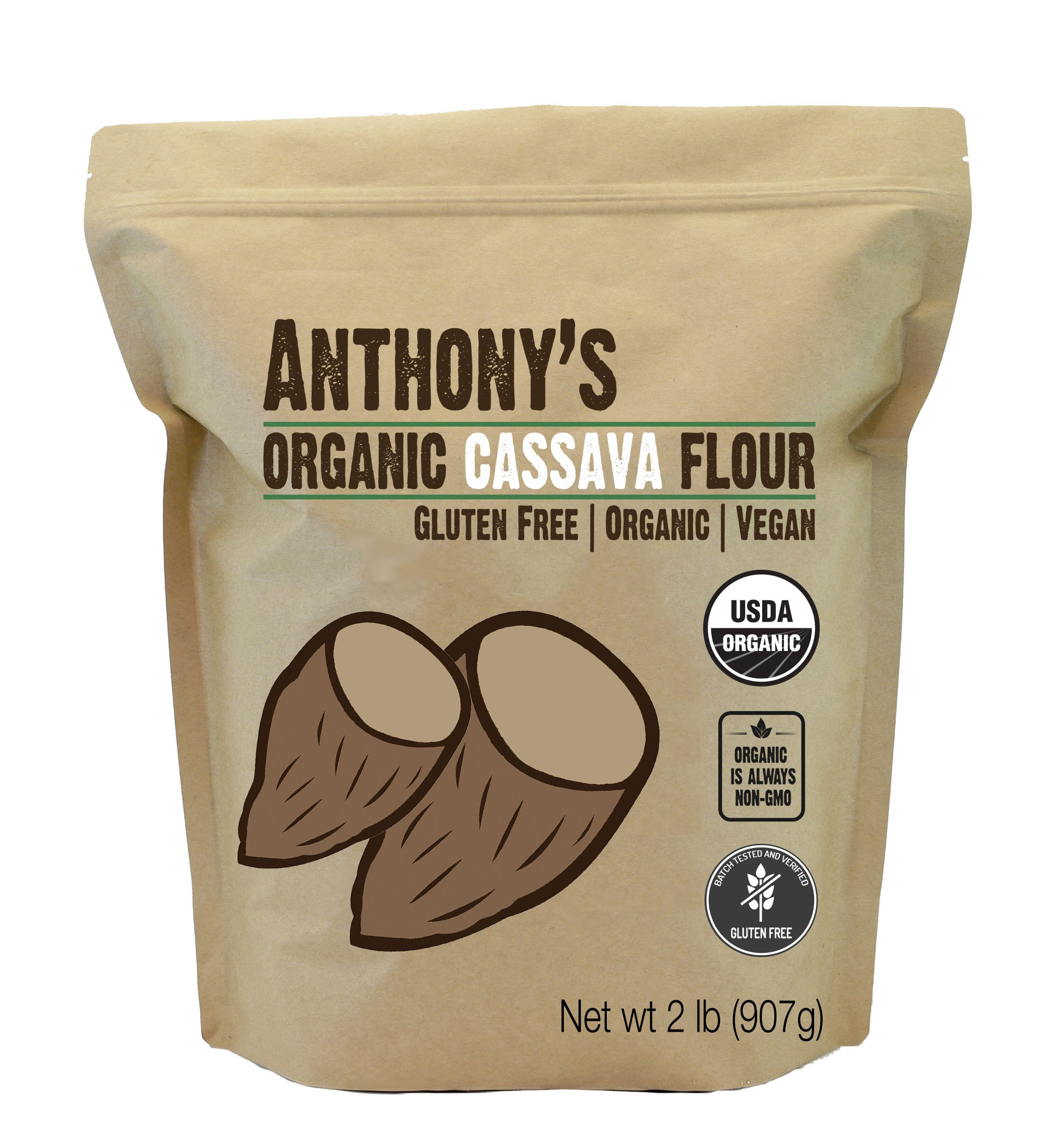 Anthony's Organic Cassava Flour (2lbs), Batch Tested Gluten-Free
