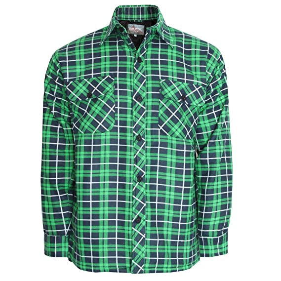 192c7ffbb0 MENS THICK PADDED QUILTED CHECK LUMBERJACK SHIRT WARM WINTER WORK SHIRT  HOODED AND NON HOODED IN LISTING M-5XL  Amazon.co.uk  Clothing