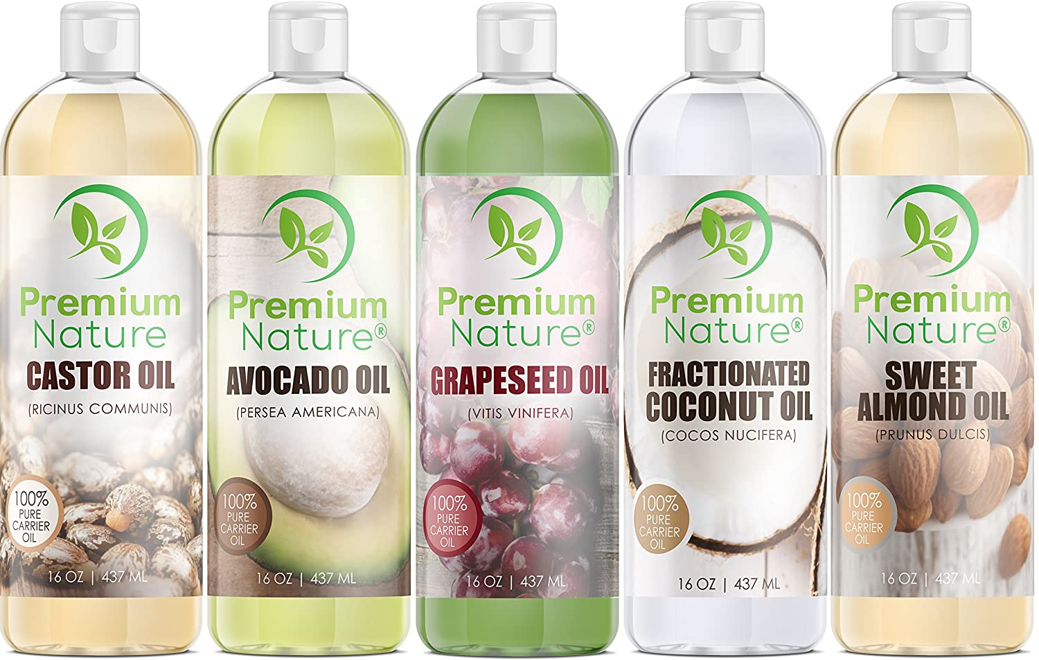 Carrier Oils For Essential Oil - 5 Piece Variety Pack Gift Set Coconut Oil Castor Oil Grapeseed Oil Avocado Oil & Sweet Almond Best Oils for Stretch Mark Dry Skin Hair Body Massage Mixing 4oz Each Premium Nature Carrier Oils Variety 5 Pack