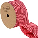 LaRibbons Twill Chevron Stripes Ribbon/Gift Wrap Ribbon, 1-1/2 Inch by 10 Yard/Spool, Red