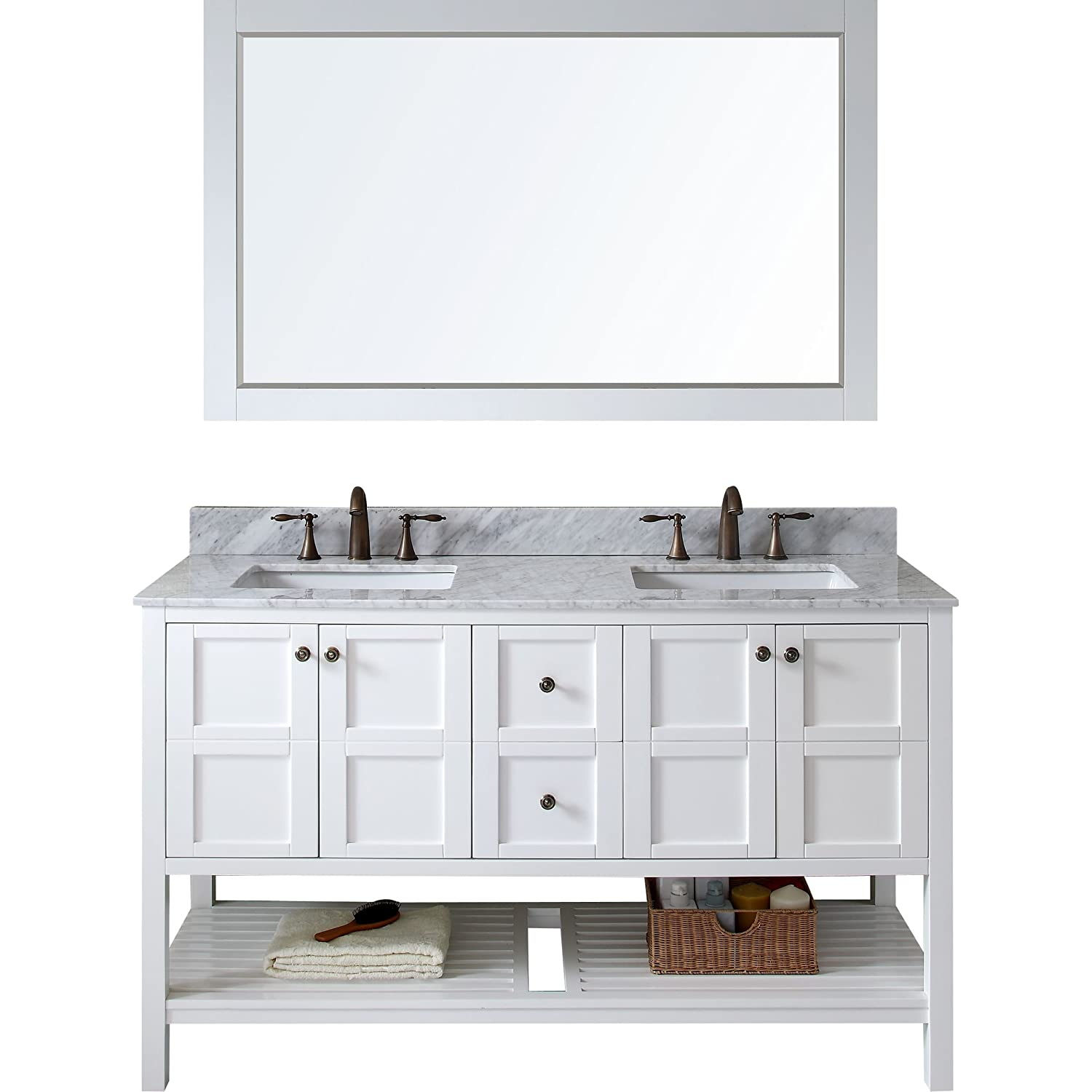Virtu ED-30060-WMSQ-WH Winterfell Double Bathroom Vanity Cabinet Set ...