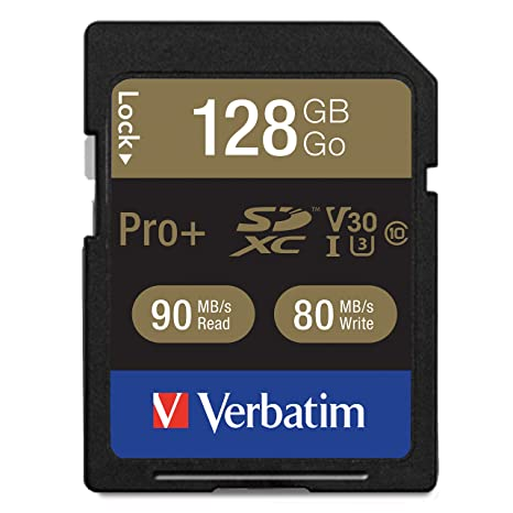 Verbatim 128GB Pro Plus 600X SDXC Memory Card, UHS-I V30 U3 Class 10