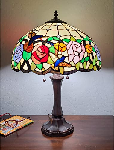 Tiffany Style Table Nightstand Banker Lamp 22″ Tall Stained Glass Red Green Yellow Floral Hummingbird Antique Vintage Light Decor Living Room Bedroom Desk Handmade Gift AM101TL16B Amora Lighting