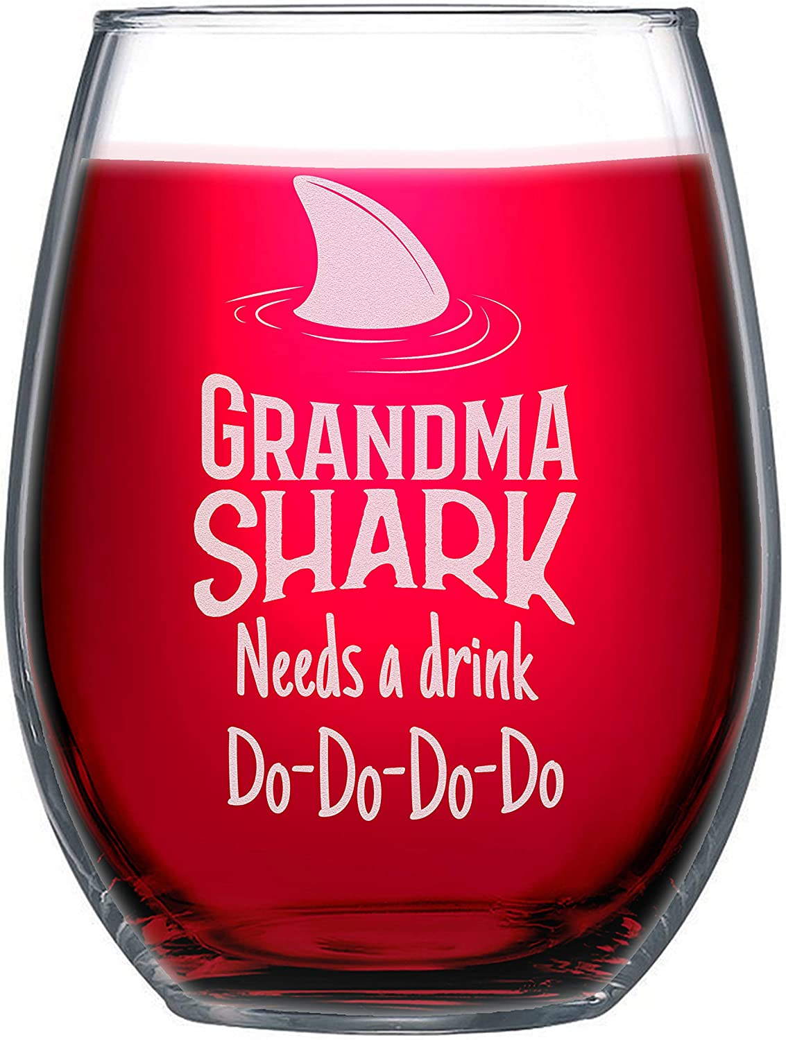 NeeNoNex Grandma Shark Needs a Drink Stemless Wine Glass - Funny Gift for Granny - Mother's Day Gift