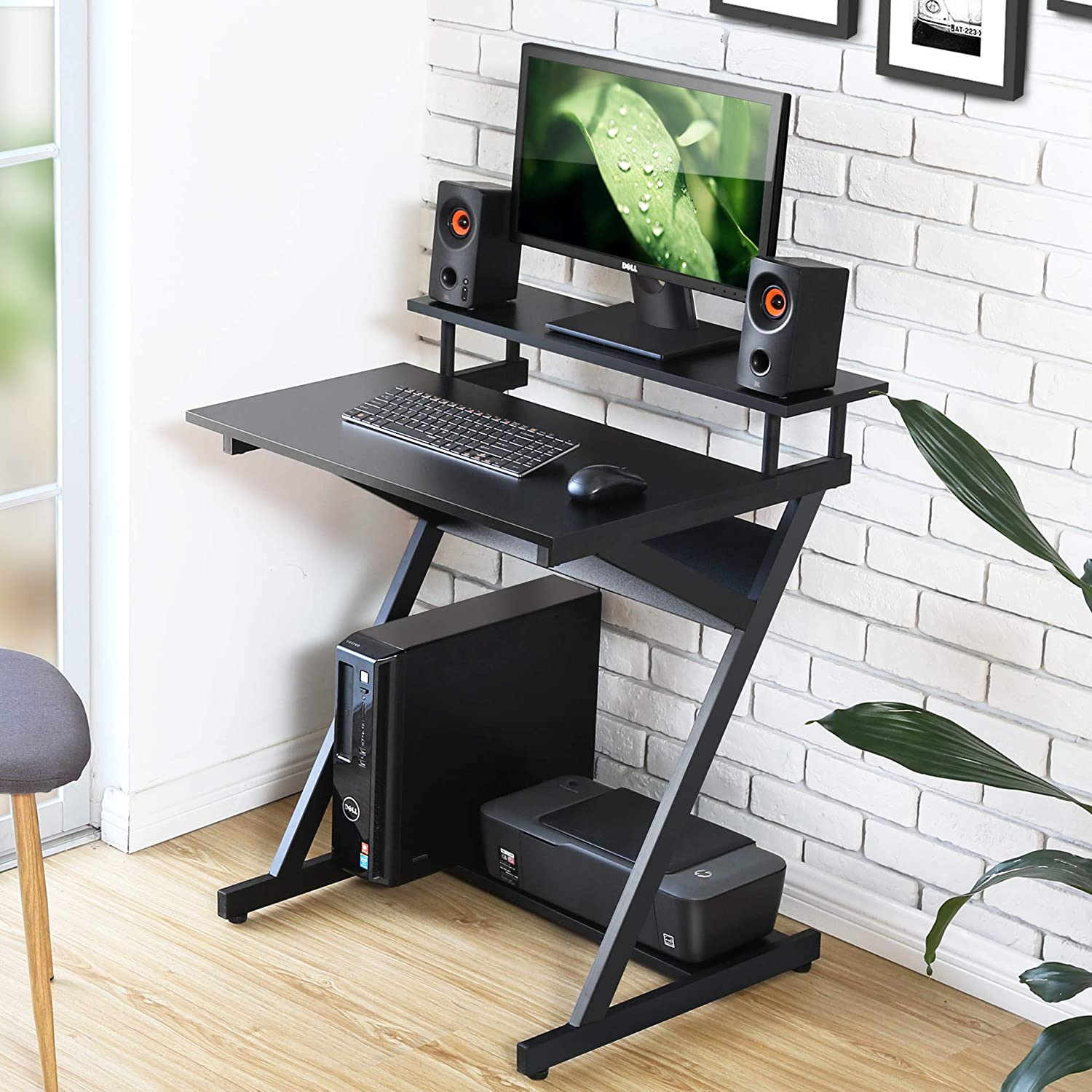 - FITUEYES Computer Desk Mobile Workstation With Monitor Shelf Study