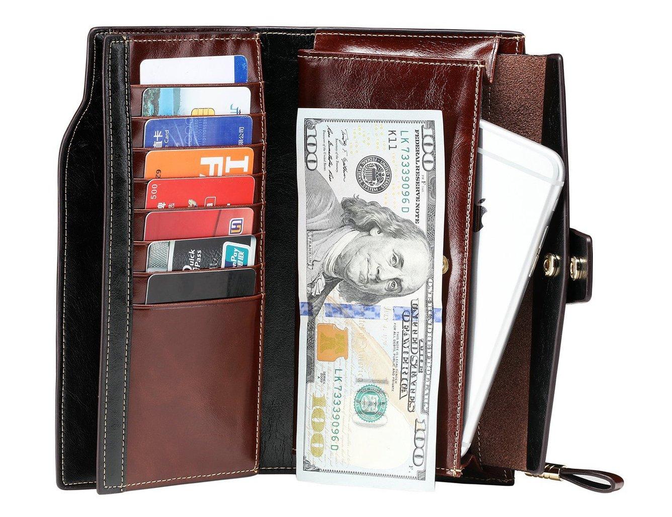 e8b384ed3f6b3 PARVENZA Damen Geldbörse RFID Schutz Portemonnaie Wachs Echtes Leder  Geldtasche Kaffee PVZ0702C  Amazon.de  Koffer