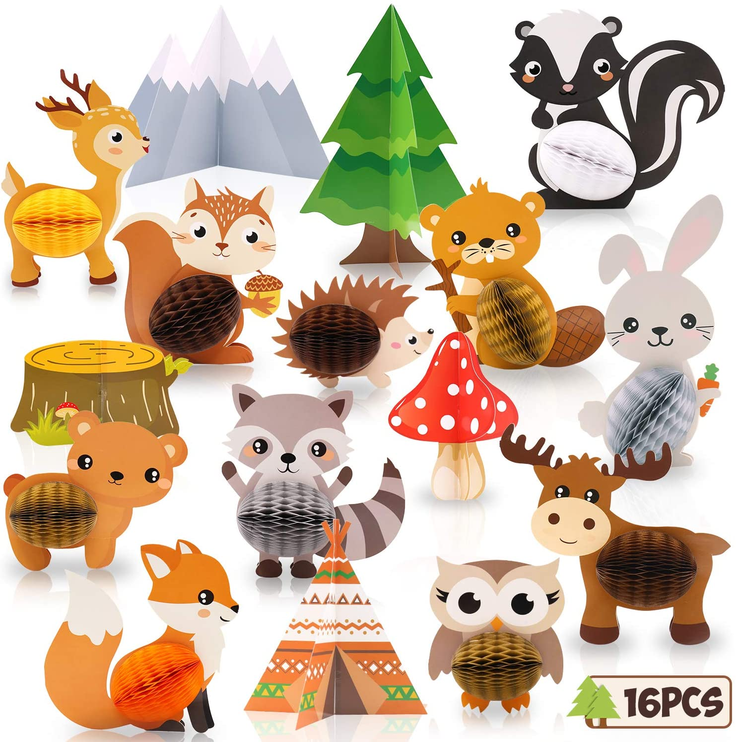 16PCS Woodland Animals Honeycomb Centerpieces Forest Friends 3D Table Toppers for Woodland Baby Shower Birthday Decorations Wild One Camping Party Supplies