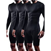Neleus Men's 3 Pack Athletic Compression Sport Running Long Sleeve T Shirt