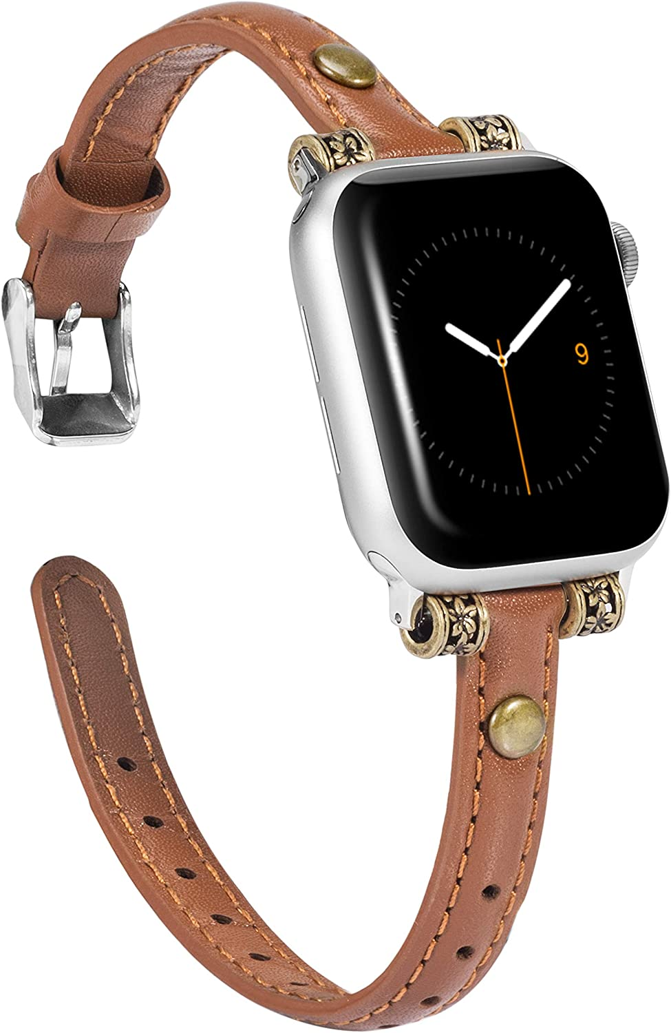 Wearlizer Leather Bands Compatible with Apple Watch Band 38mm 40mm for iWatch Womens Mens Special Slim Vintage Wristband Replacement Strap SE Series 6 5 4 3 2 1 Edition - Brown