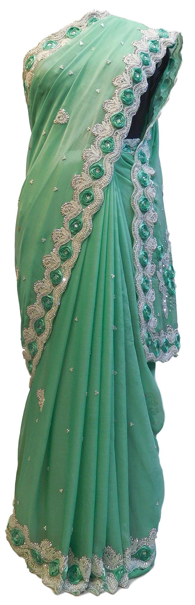 SMSAREE Green Designer Bridal PartyWear Georgette Thread Beads Stone Work Wedding Cutdwork Border Saree Sari E011
