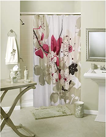 Lushomes Polyester Blend Digital Pink Leaf Design Shower 71 x 78, 180 x 200 cms Curtain with 12 Eyelets and 12 Hooks - Multicolour