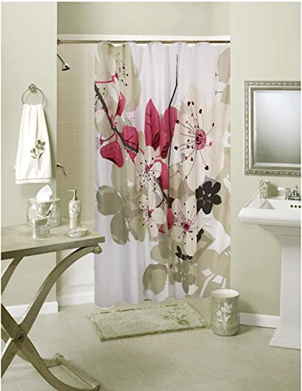 Lushomes Polyester Blend Digital Pink Leaf Design Shower 71'' x 78'', 180 x 200 cms Curtain with 12 Eyelets and 12 Hooks - Multicolour