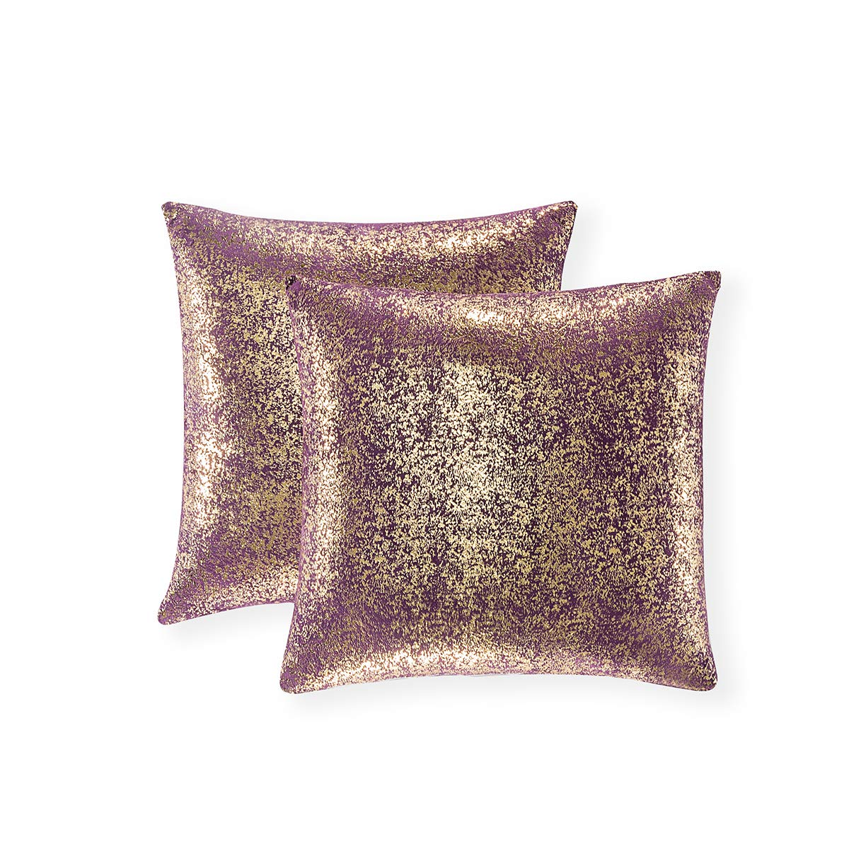 Set of 2, Throw Pillow Covers, Cushion Cases, Decorative Square Pillow Case, Slipover Pillowslip for Home Sofa Couch Chair Back Seat Bedroom Car, Invisible Zipper, 18 x18In (Bronzing- Lavender Purple)