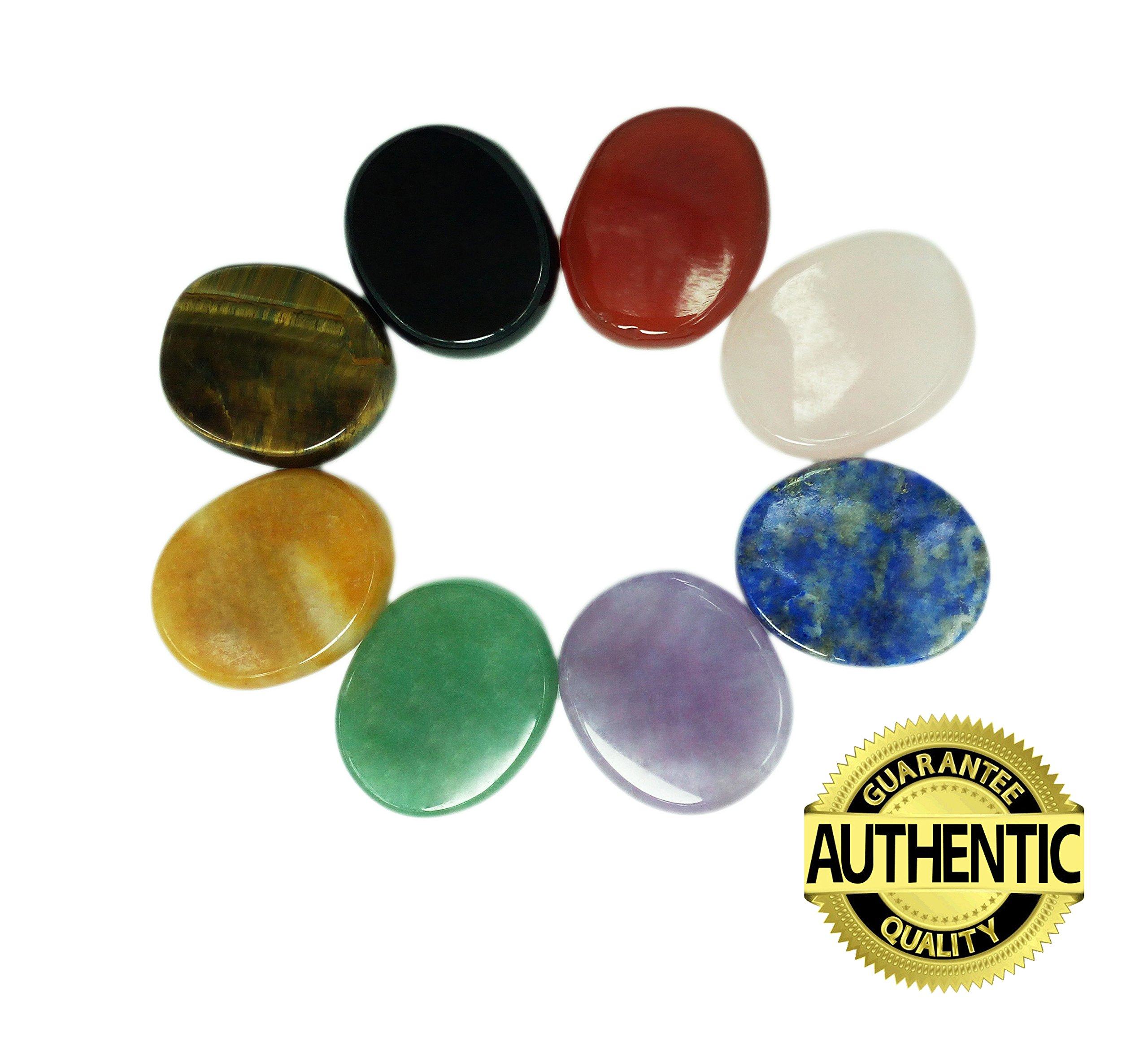 Chakra Stones 8 PCS Kit, Oval Shaped, For Crystal Healing Meditation, Reiki or As Worry Stones or Palm Thumb Pocket Stones (Set of 8 Oval Shape Chakra Stones)