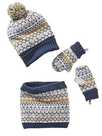 577ef6208e9 Vertbaudet Bonnet garçon + snood + gants ou moufles jacquard GRIS CHINE  12 14 A