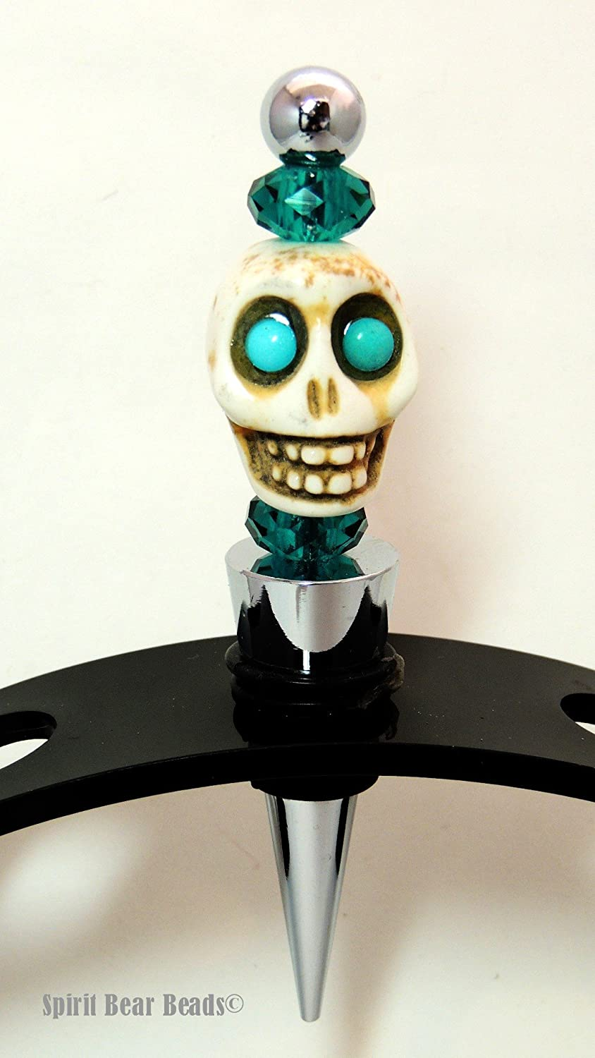 Turquoise Skull Wine Stopper Teal Blue Beads Dia De Muertos Day of the Dead Gift