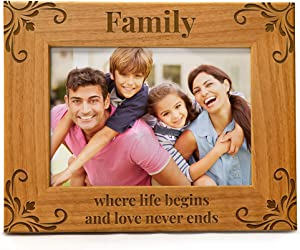 Family Picture Frame, Family Where Life Begins And Love Never Ends, Engraved Natural Wood Photo Frame Fits a 5x7 Horizontal Portrait, Frame for Family, Dad, Mom, Grandparents, Father's Day, Mother's Day, Birthday