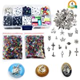 LET'S RESIN Resin Craft Supplies Kit with 400PCS Letter Number Beads, 20g Letter Sequins, 20g Number Sequins, 50PCS Silver Pendants Charms for Resin Craft/Jewerly Making