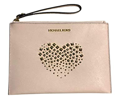 85b8e6b0e9a575 Michael Kors Jet Set Heart Studded XL Giftables Zip Leather Clutch Wristlet  (Ballet)