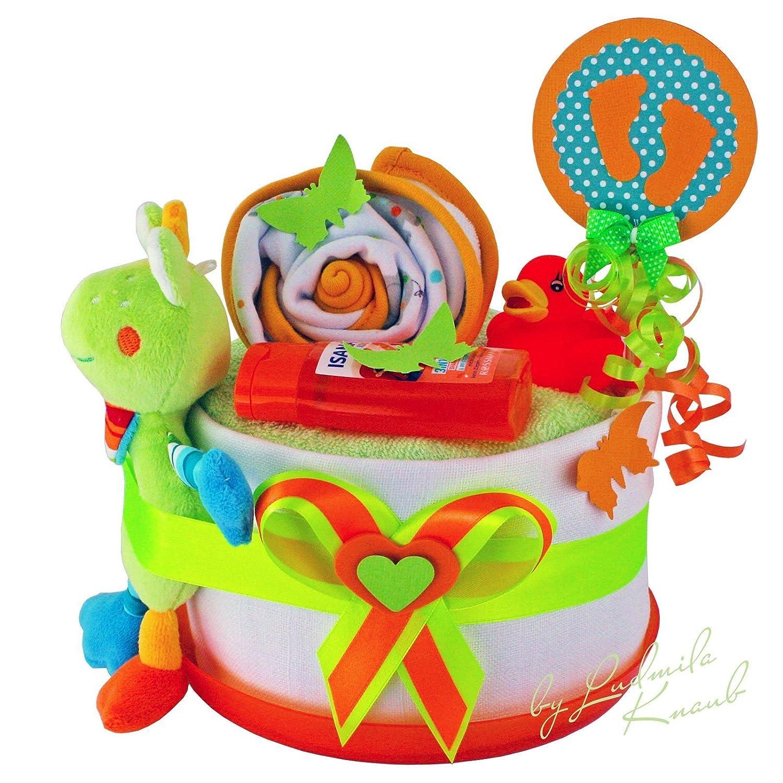 Windeltorte / Pamperstorte > Babygeschenk für Mädchen und Jungen in schönem 3-Farbigenton (Weiß/Grün/Orange) // Geschenk zur Geburt, Taufe, Babyparty // originelles und praktisches Geschenk für Babys WTLK-1/321