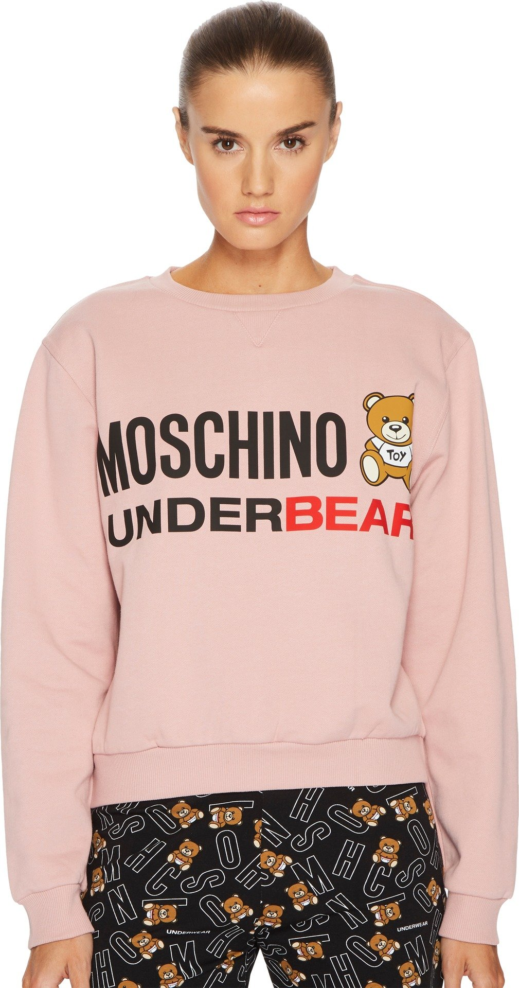 MOSCHINO Women's Cotton Fleece Long Sleeve Sweatshirt Pink Small