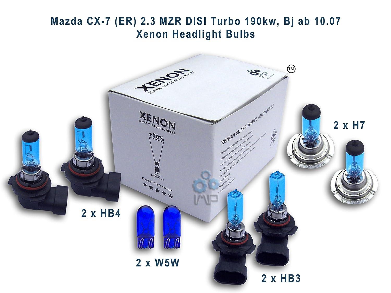 Mazda CX-7 (ER) 2.3 MZR DISI Turbo 190kw, Bj ab 10.07 Xenon Headlight Bulbs HB4, HB3, H7, W5W: Amazon.es: Electrónica