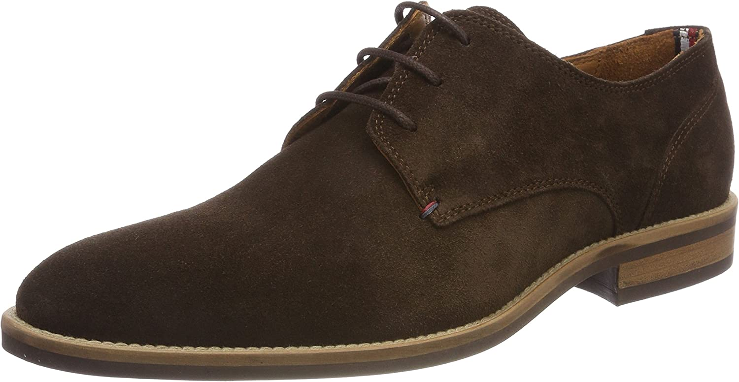 TOMMY HILFIGER Essential Suede Lace Up Derby, Zapatos de Cordones Oxford para Hombre