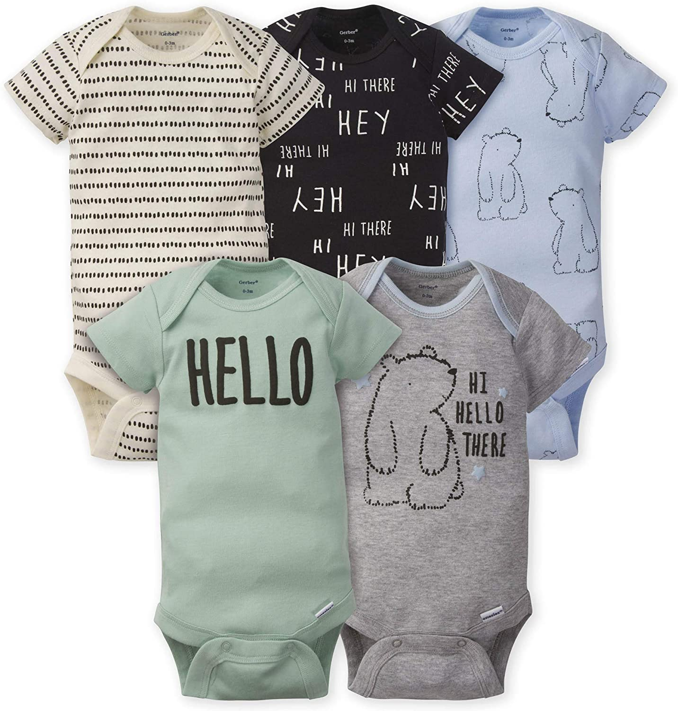 GERBER Baby Boys' 5-Pack Variety Onesies Bodysuits