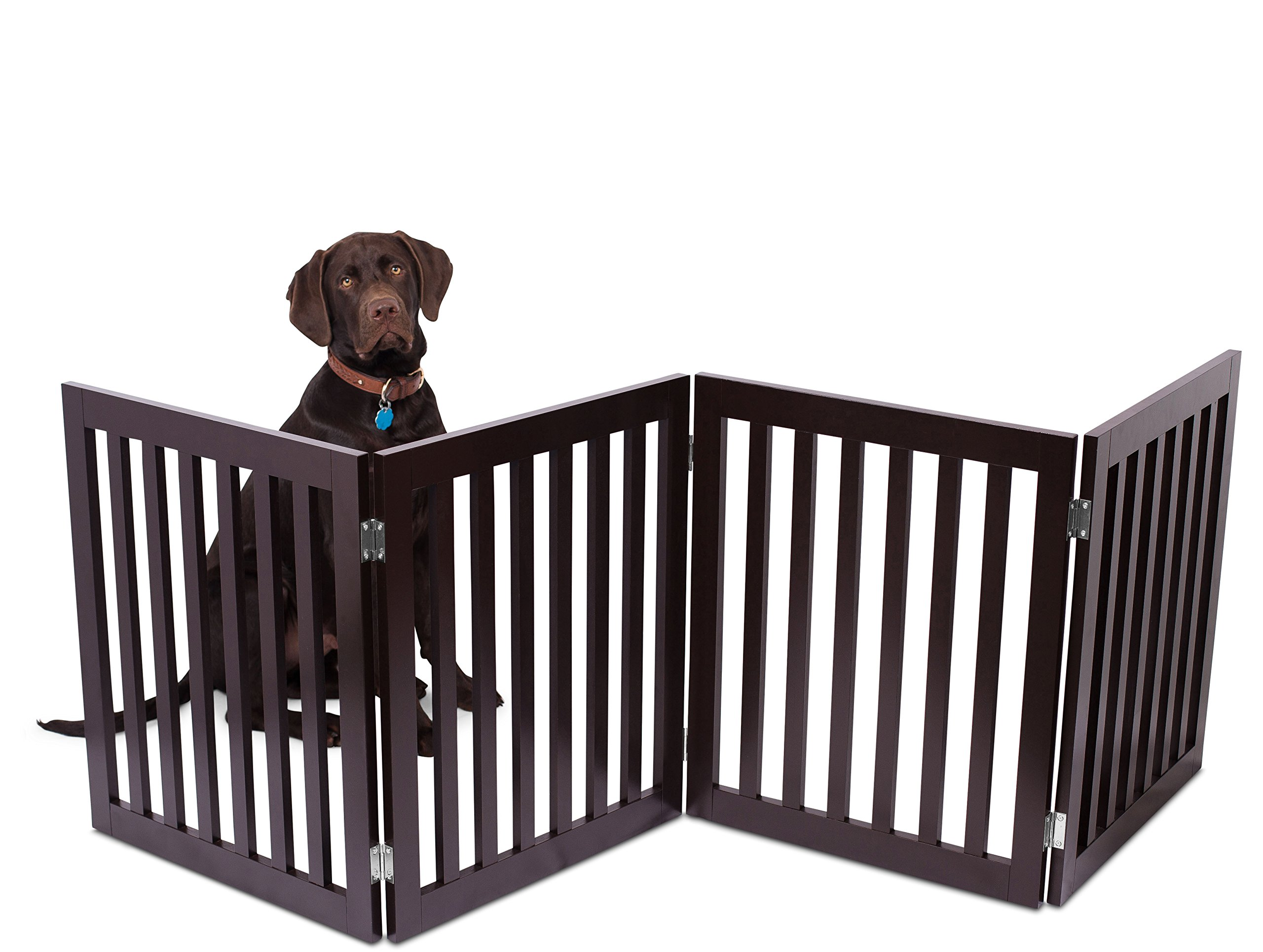 Internet's Best Traditional Pet Gate   4 Panel   24 Inch Step Over Fence   Free Standing Folding Z Shape Indoor Doorway Hall Stairs Dog Puppy Gate   Fully Assembled   Espresso   Wooden