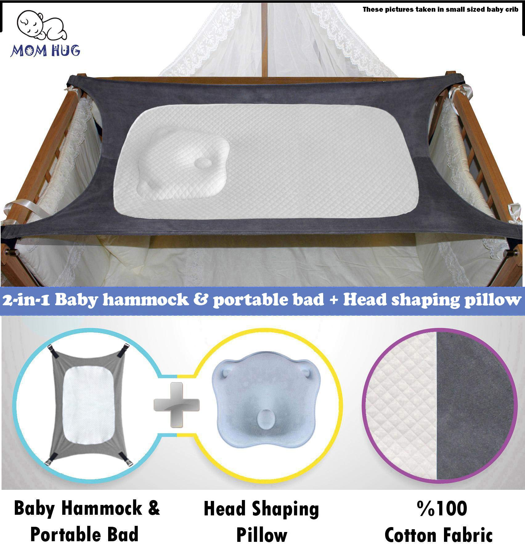 2-in-1 Head Shaping Pillow Backed Newborn Baby Hammock for Crib and Portable Bed,%100 Cotton Comfortable,Strong Safety Measures Quality Assured Breathable Enhanced Nursery Womb Bassinet by Mom Hug (Image #1)