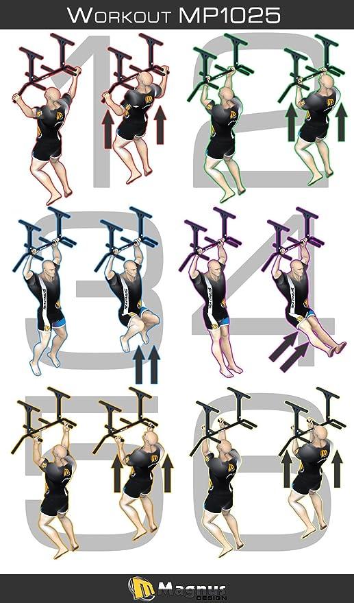 MAGNUS® POWER MP1025 - Barra de dominadas para fijar en el techo (6 agarres) + GUANTES + Gancho para Sling Trainer / saco de boxeo …